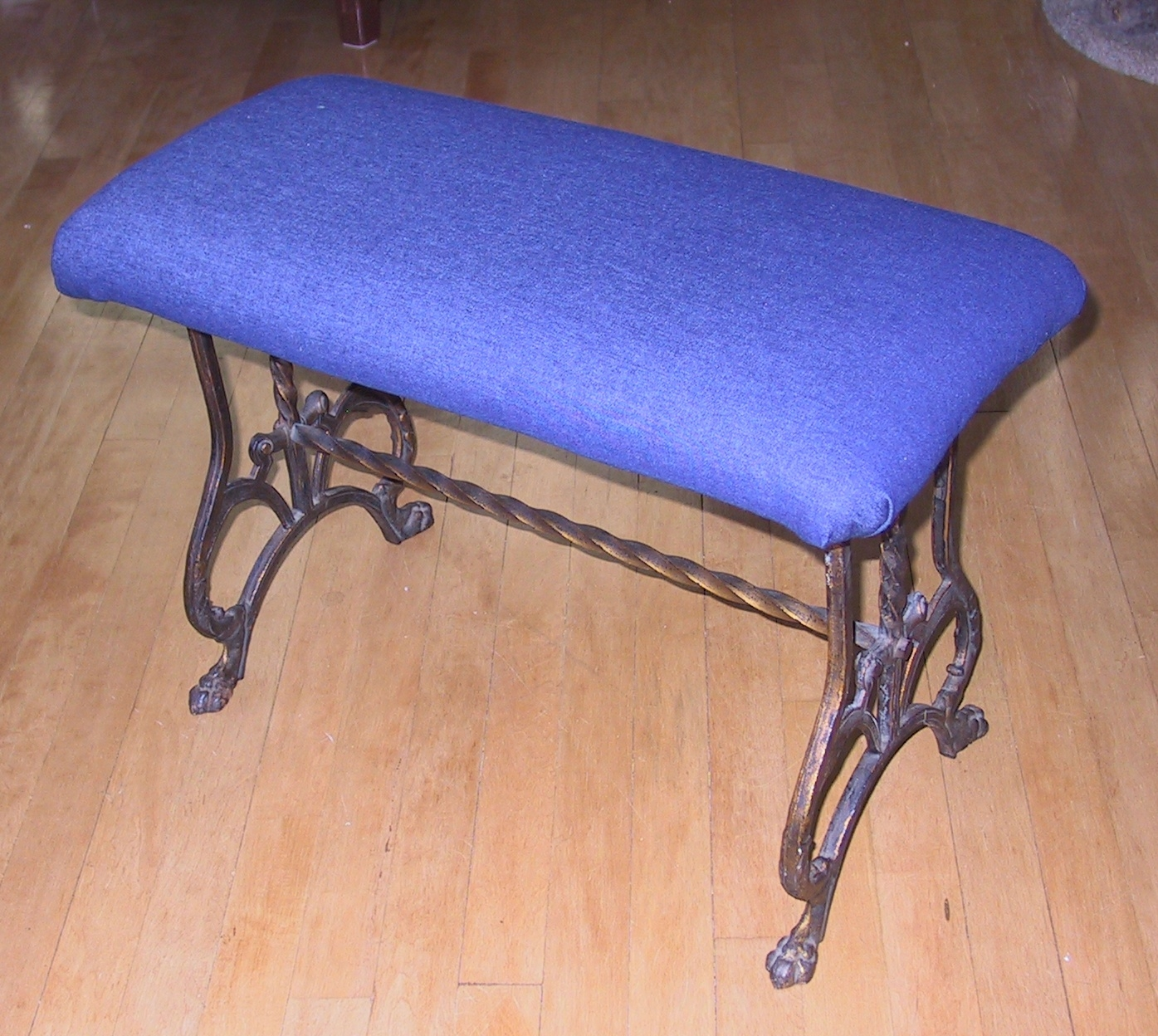 The bench was useful, and now beautiful, with a fun, denim cover