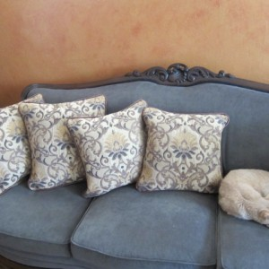 Two pairs of leather trimmed pillows complement the client's furniture