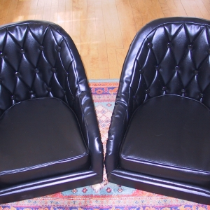 A restored Model A has new pleated, buttoned vinyl seats