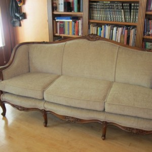 New fabric, new materials and new cushion foam plus  decorative welt and gimp finish the sofa